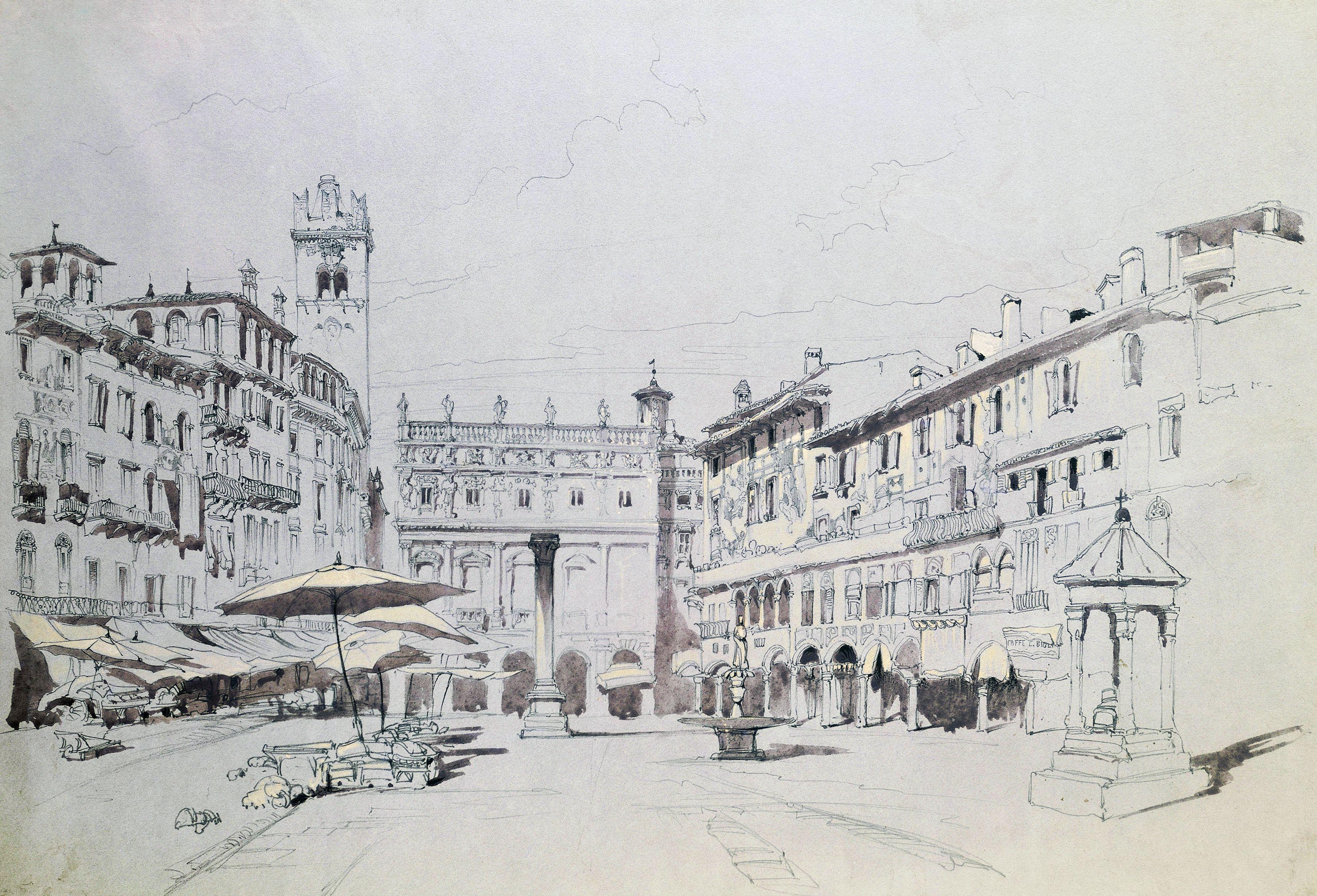 Watercolor (C.1841) of Piazza delle Erbe in Verona, Italy, by John Ruskin
