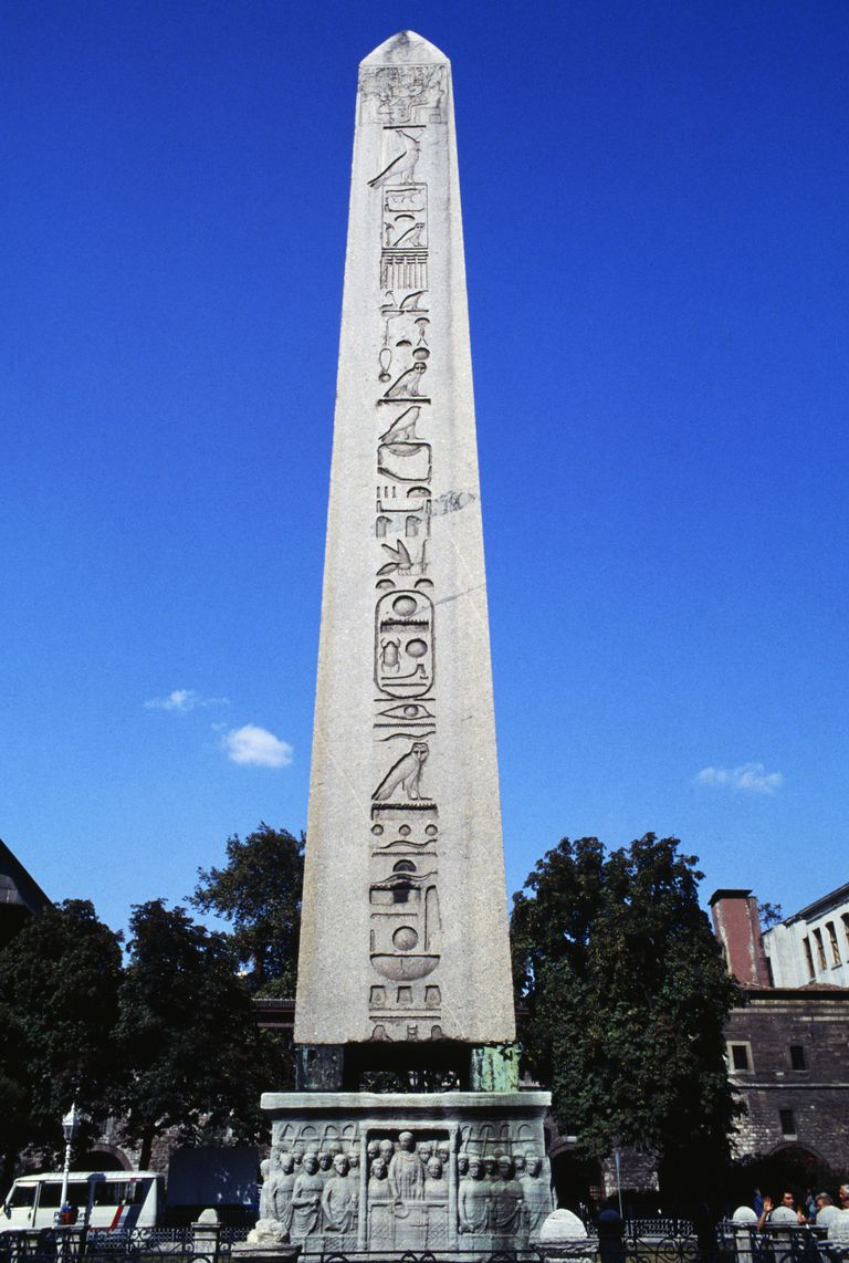 Obelisk of Theodosius I against a blue sky
