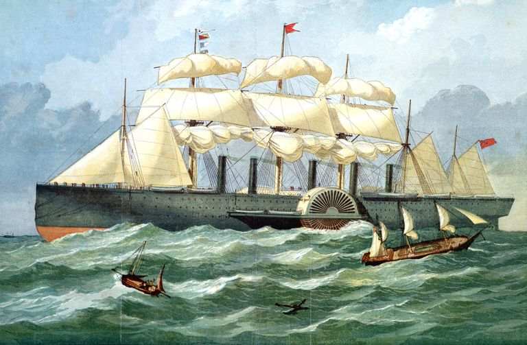 Color print of Brunel's SS Great Eastern.