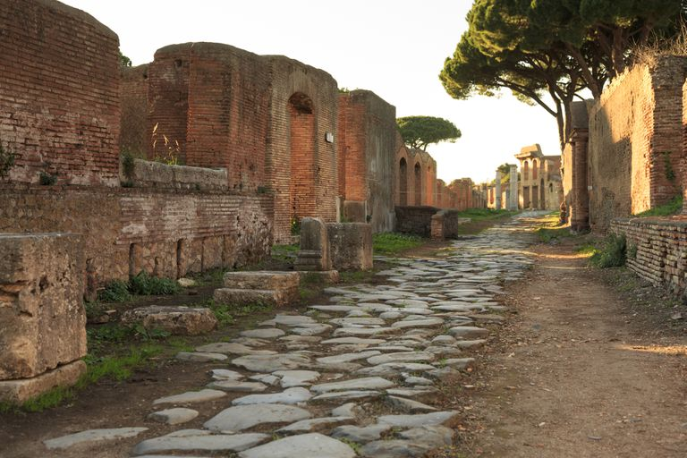 Ancient Roman back street in Ostia Antica ruins.
