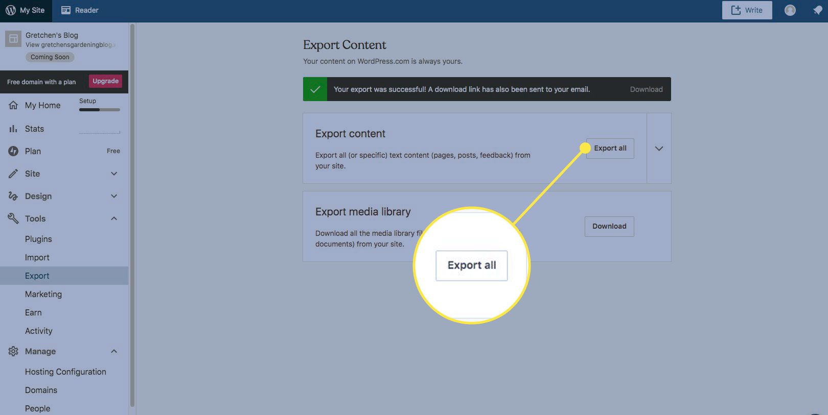 The Export All button