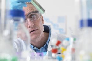 A researcher working in a lab