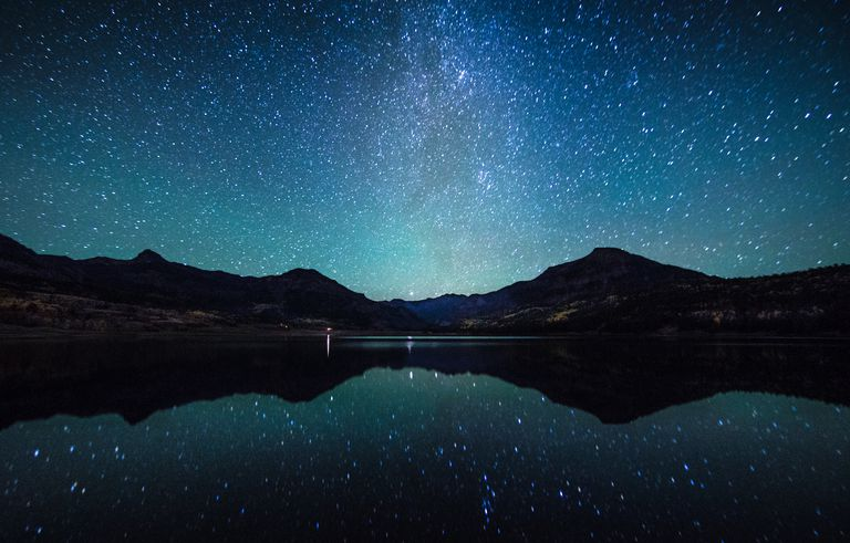 Milky Way reflection against a lake.