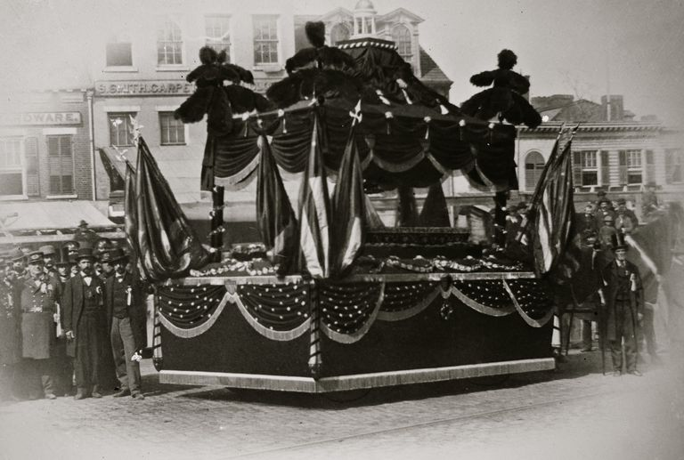 Funeral car used to transport Lincoln's body in Washington.