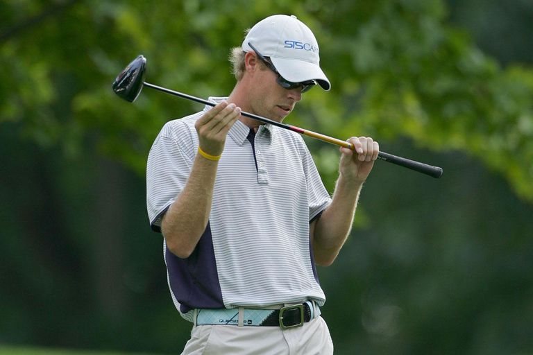ROCHESTER, NY - AUGUST 16: David Hearn of Canada examines the shaft of his driver during the third round of the Xerox Classic at the Irondequoit Country Club held on August 16, 2008 in Rochester, New York.