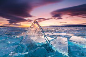 Sunset on the ice of Lake Baikal, Siberia