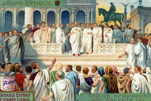 Mosaic of Roman tribunes proposing a law.