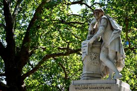 1874 statue of William Shakespeare in Leicester Square in London