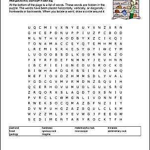 Rocks Word Search Worksheet