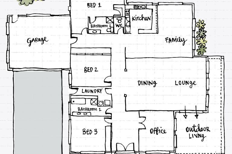 Garage 3 Bedrooms Family Room Dining Lounge Office And Outdoor Hand Drawn Floor Plan