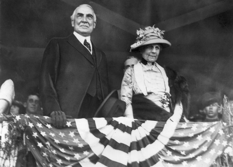 American president Warren G Harding (1865 - 1923) and his wife, First Lady Florence Harding