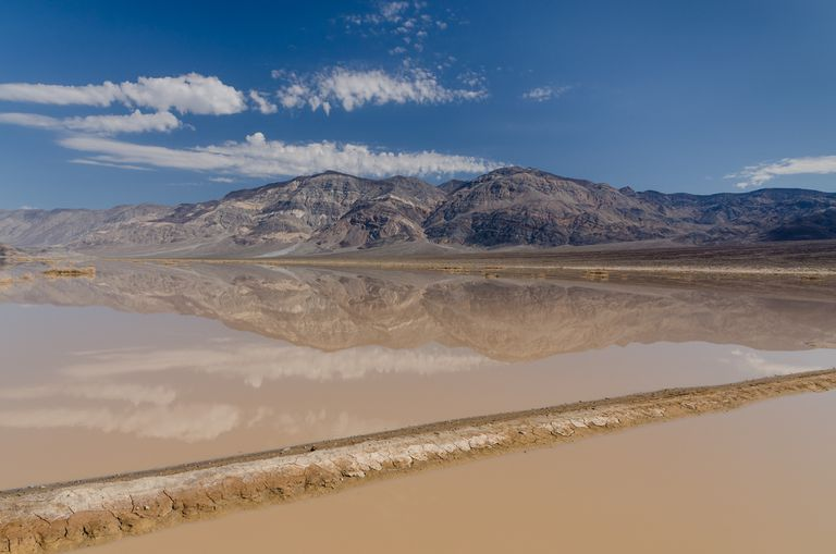 Flash flood near Panamint Butte, Death Valley