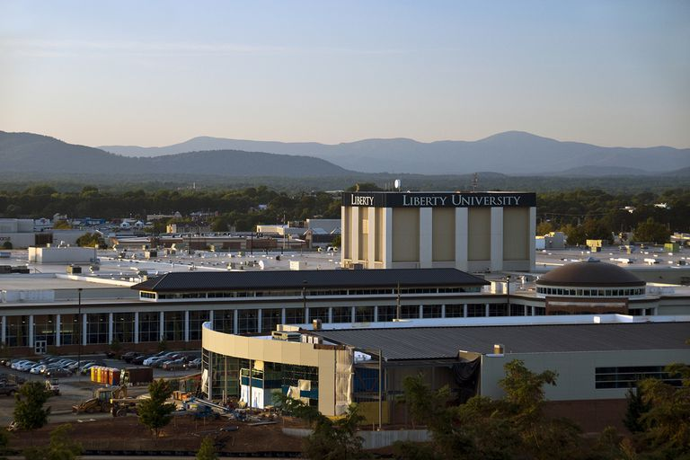 Long-distance view of Liberty University in Lynchburg, Virginia.
