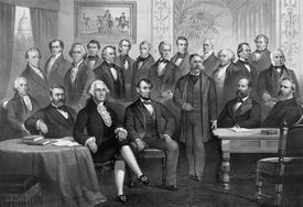 Vintage print of the first twenty-one Presidents seated together in The White House