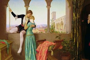 Painting showing Romeo and Juliet meeting on the balcony with the nurse looking on.