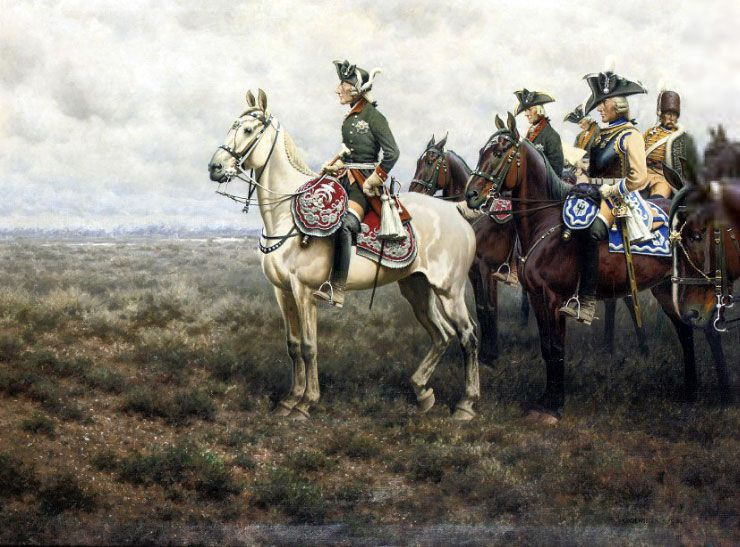 Frederick the Great and his staff at the Battle of Leuthen by Hugo Ungewitter