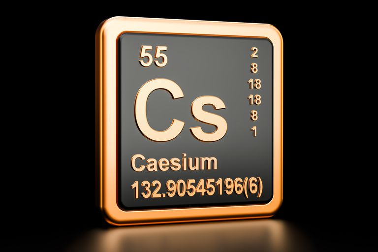 What is the most reactive metal on the periodic table caesium cs chemical element 3d rendering isolated on black background urtaz