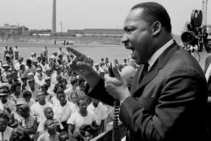 The Rev. Martin Luther King speaks at a rally at the Robert Taylor Homes in Chicago, Illinois, 1960s.