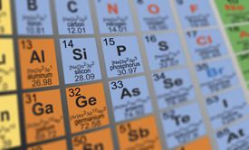 Rendered and partially blurred periodic table of the elements