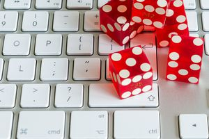 dice on computer keyboard