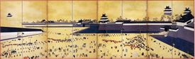 Daimyo arrive at Edo Castle