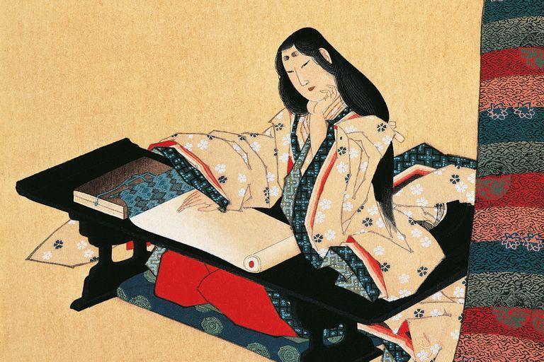 Murasaki Shikibu, scroll on silk