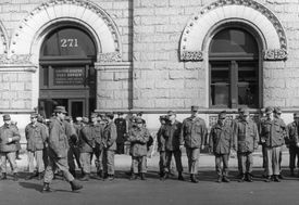 US National Guard units patrolling outside the main New York Post Office at Cadman Plaza. They have been ordered there by President Nixon as a result of a strike by Post Office workers