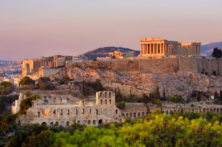 The Acropolis of Athens at sunset.