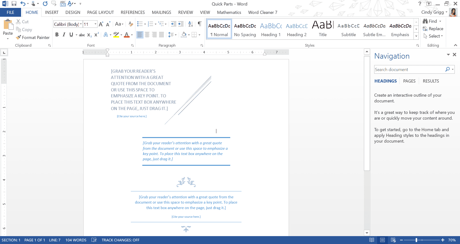 Pull Quote Building Blocks for Microsoft Word