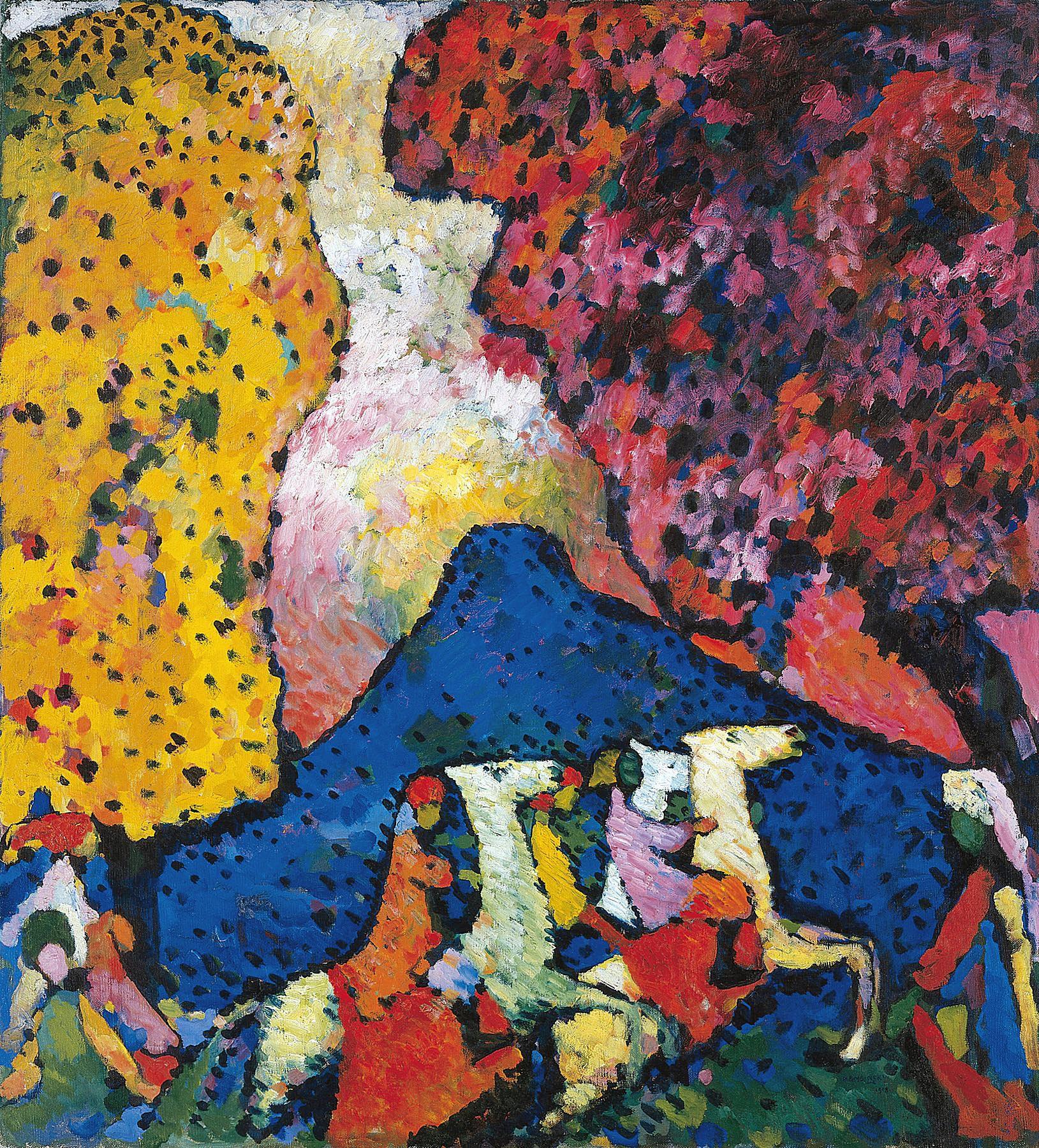 Wassily Kandinsky (Russian, 1866-1944) Wassily Kandinsky (Russian, 1866-1944). The Blue Mountain (Der blaue Berg), 1908-09. Oil on canvas. 41 3/4 x 38 in. (106 x 96.6 cm). Solomon R. Guggenheim Founding Collection, By gift 41.505. Solomon R. Guggenheim Museum, New York.