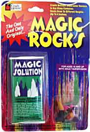 Magic Rocks contain liquid sodium silicate and colored