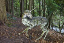 Sculpture of a unicorn by Marjan Wouda at Broomhill Sculpture Gardens in Barnstaple, North Devon, UK