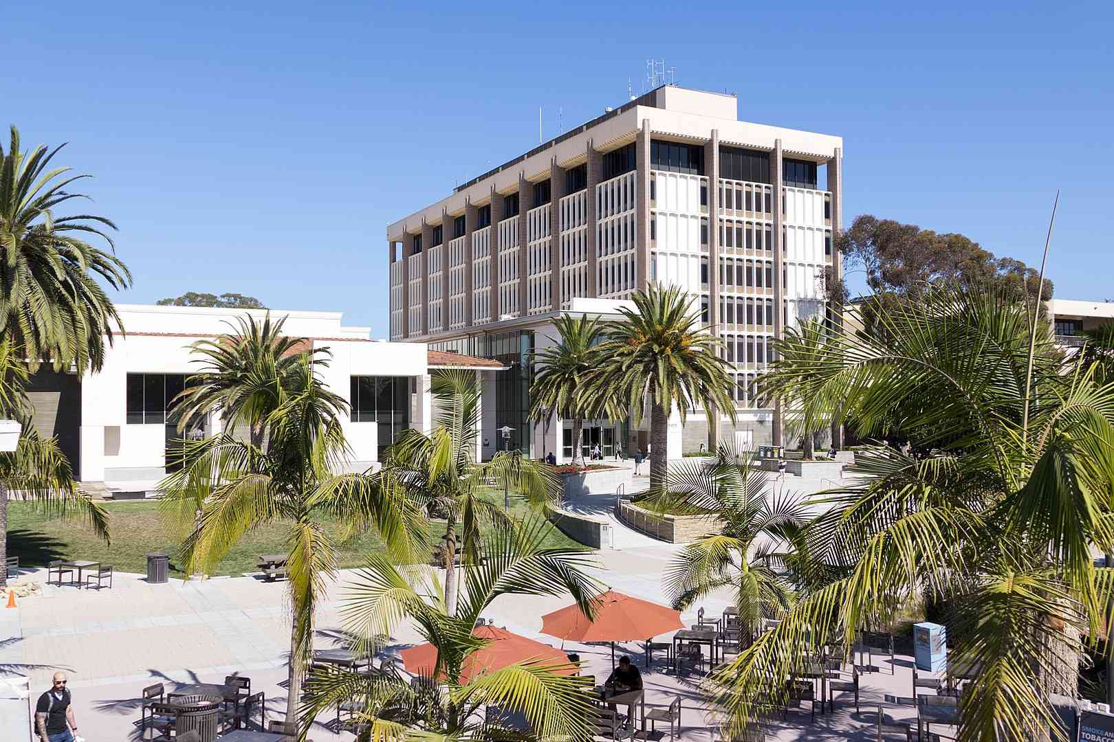 UC Santa Barbara Library on a sunny day under a perfect blue sky with a view of the beach.