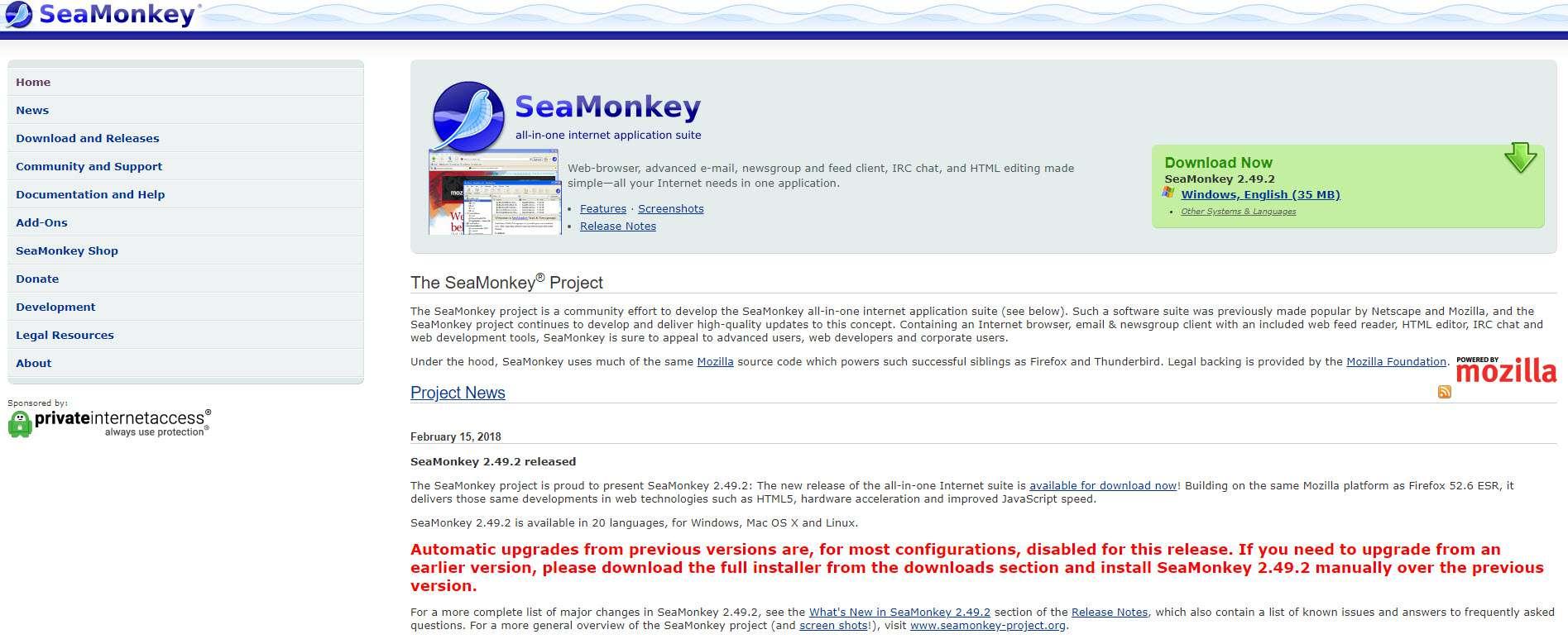 SeaMonkey WYSIWYG Home page