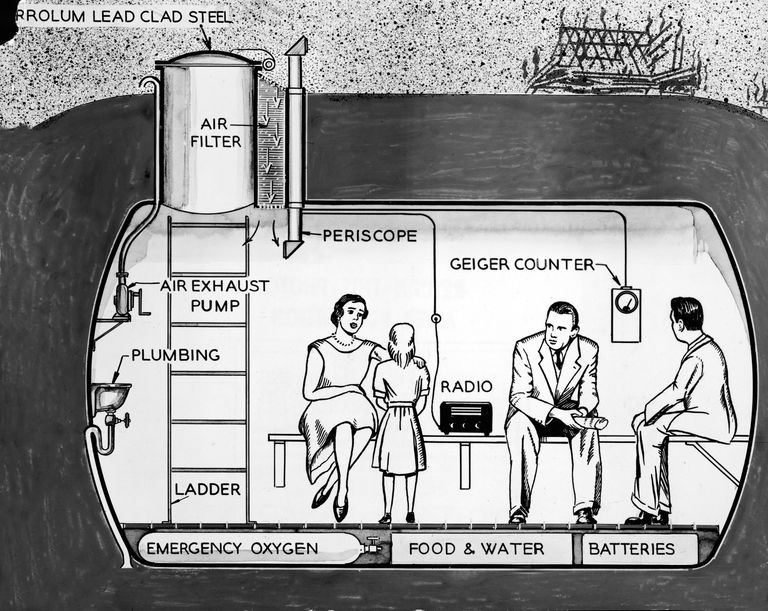 Illustration of a Cold War family nuclear fallout shelter