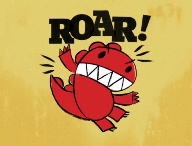A cartoon dinosaur roaring.