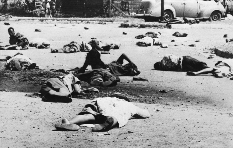 Bodies of Dead and Wounded Demonstrators in Street