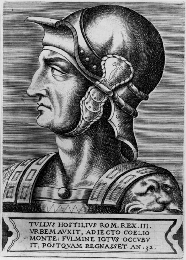 Illustrated portrait of Tullus Hostilius.
