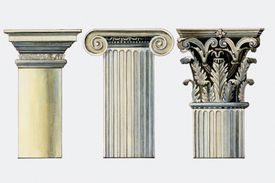 illustration of the tops of three column types, the second more ornate than the first and the third is the most ornate