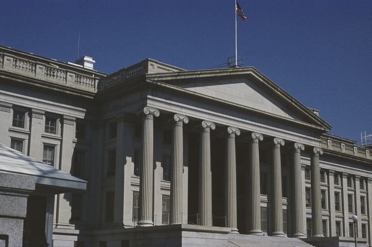 Ionic Columns of the US Treasury Building in Washington, DC