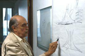 Architect Oscar Niemeyer in his Studio in Copacabana, Rio de Janeiro, Brazil