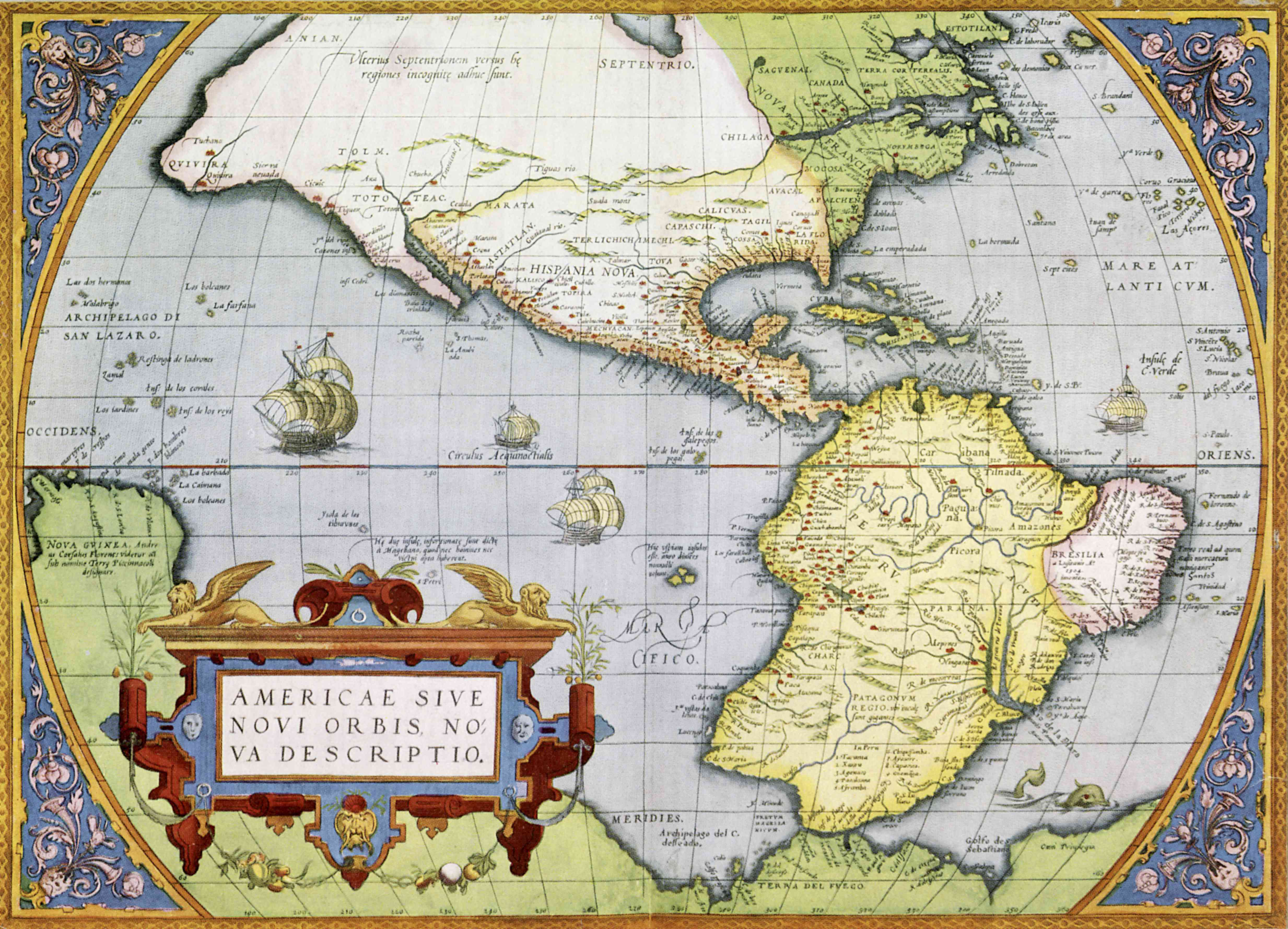 Map of America or the New World in Theatrum Orbis Tearrarum by Abraham Ortelius, 1570.