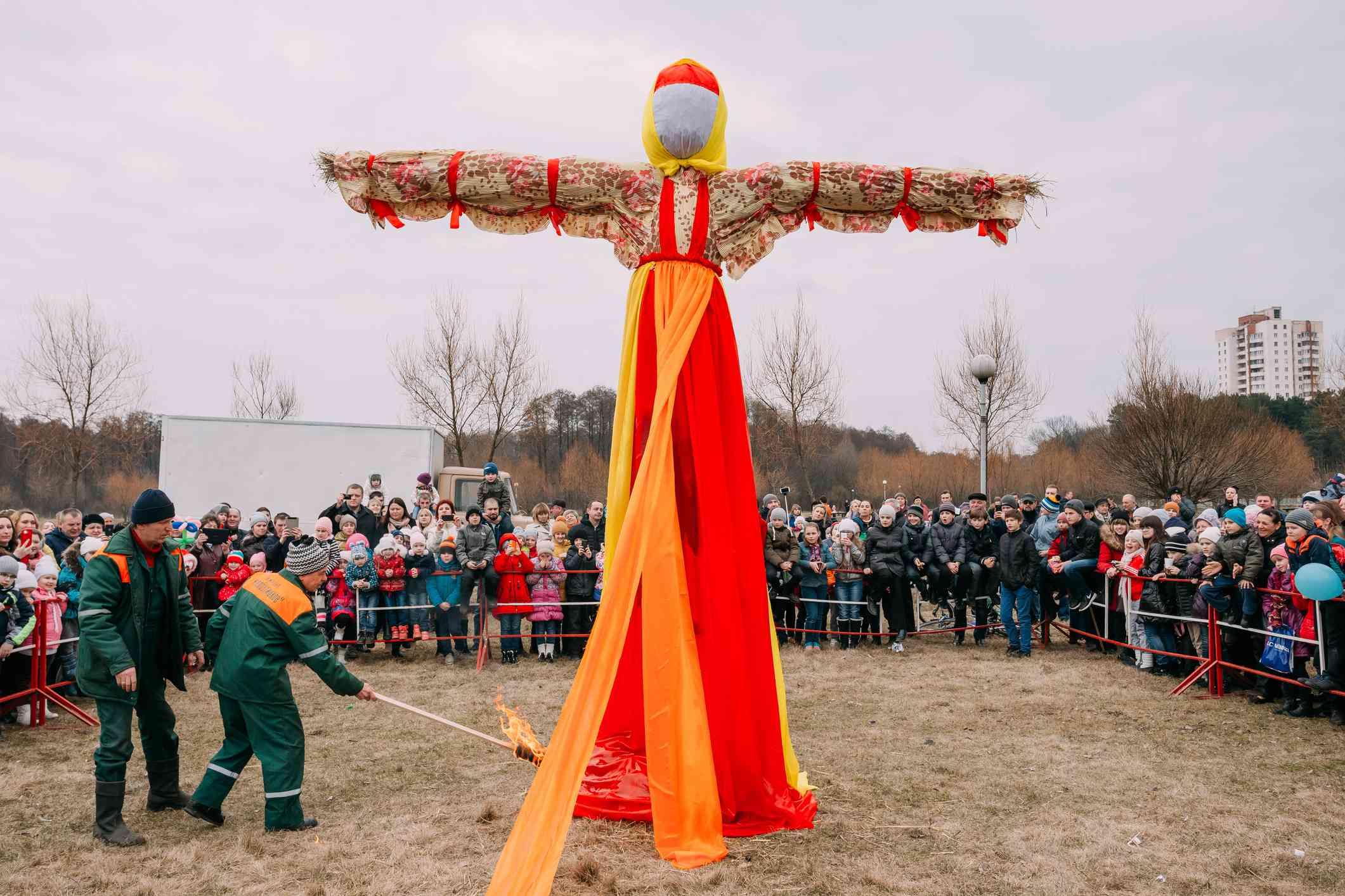Scene Of Ignition Dummy Maslenitsa On Eastern Slavic Mythologyca