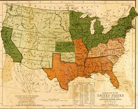 A map of the United States, showing the distinctions and boundaries between pro- and anti-enslavement states as well as the territories of the Union, 1857.
