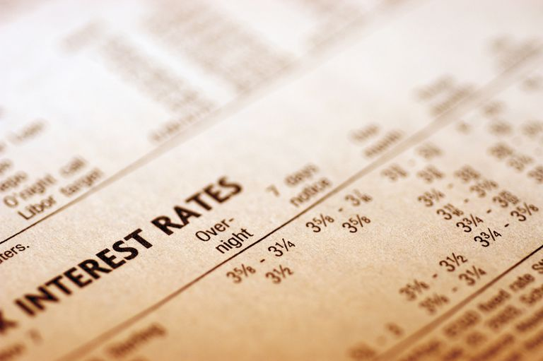 Interest rates printed in newspaper