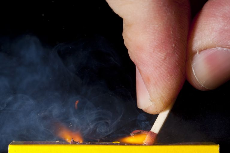 A match uses a chemical reaction to produce a flame.