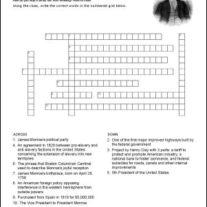 James Monroe Crossword Puzzle