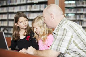 Teacher helping students with project on l...
