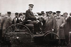 Inventor Karl Benz Sitting on Benz Motorwagen