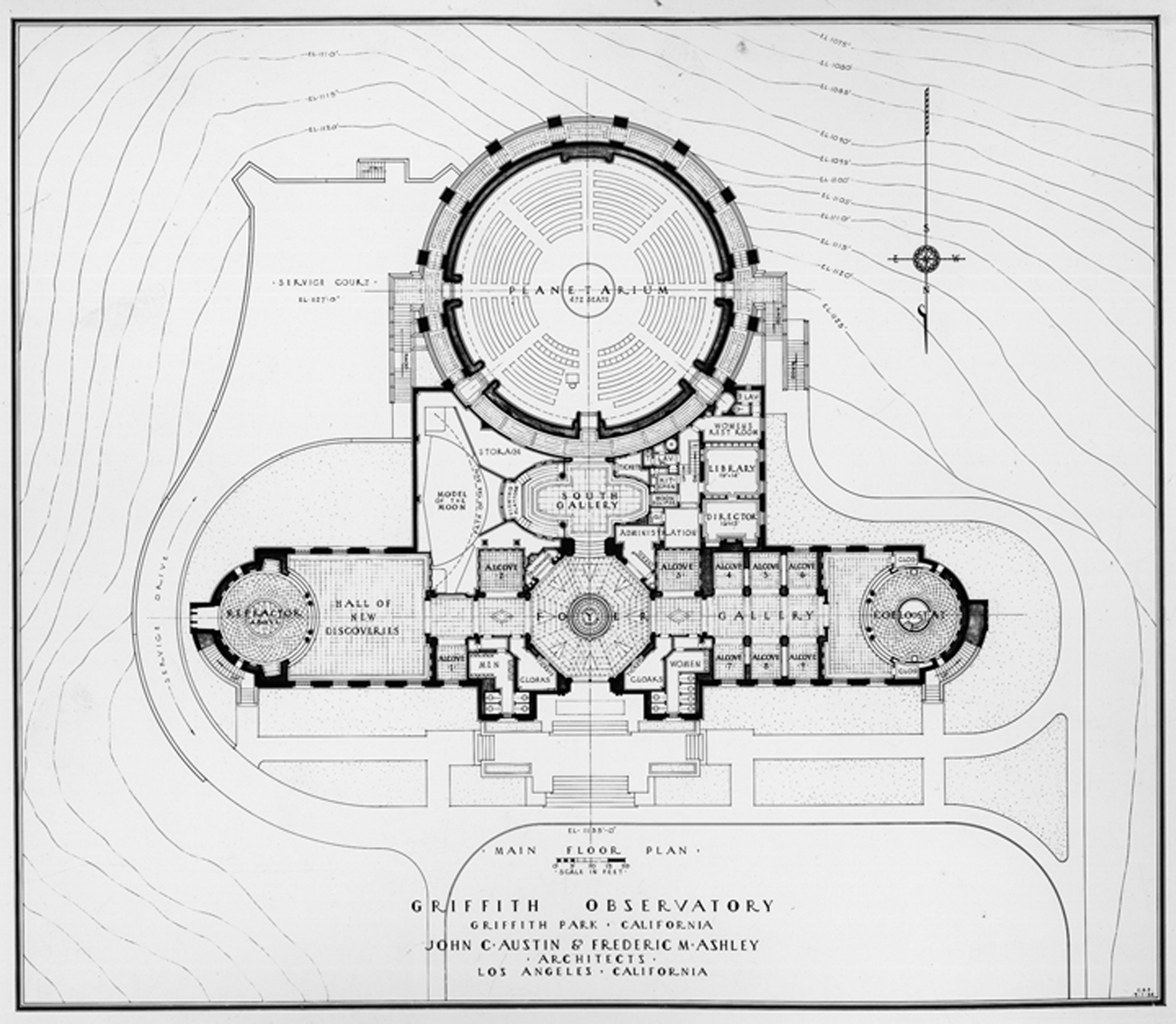 Floor plan of Griffith Observatory in 1933.